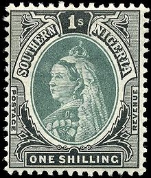 1901 one shilling southern Nigeria postage stamp