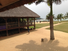 View from dining area to the main bar and beach