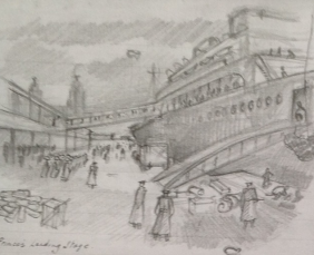 Bill Henderson Sketch:Boarding the Troop Ship in Liverpool, 1941