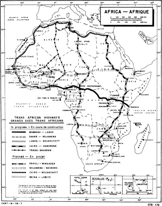 "Map of the Trans-African Highway project, late 1970s (Rolf Hofmeier, ""Die Transafrikastraßen: Stand der Planung und Realisierung,"" Africa Spectrum 14, no. 1 [1979], 35)."