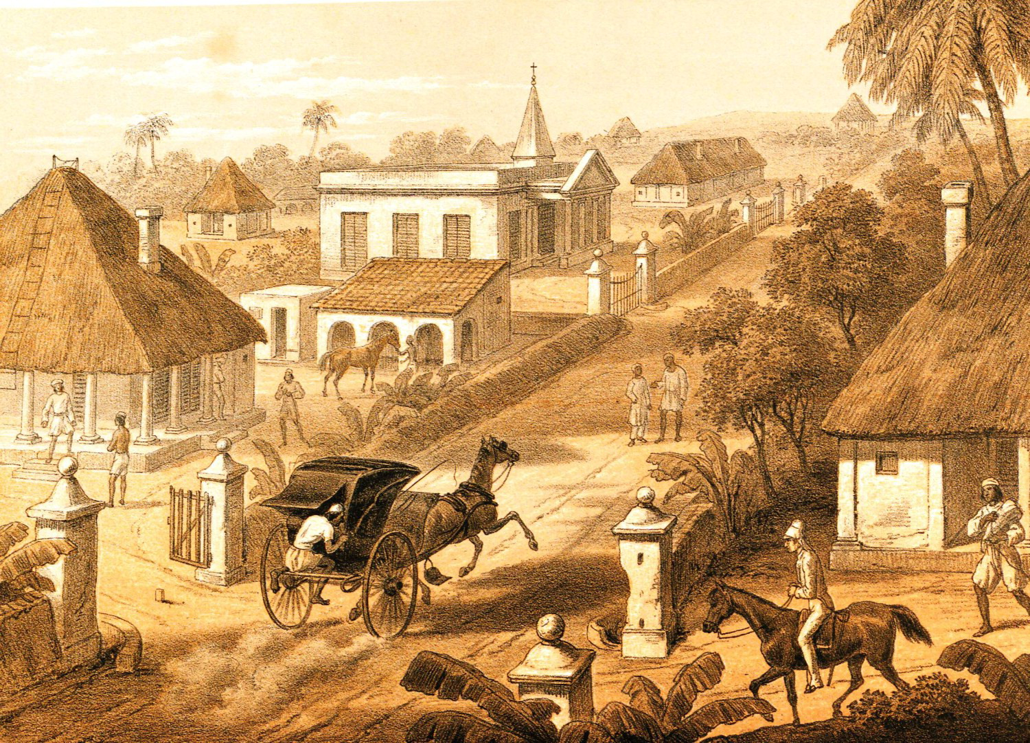 A provincial administrative town in colonial Bengal. George Francklin Atkinson, Our Station, Plate 1, lithograph, from Atkinson, Curry and Rice (On Forty Plates) Or the Ingredients of Social Life at Our Station in India (London: Day & Son, 1859), © British Library Board, 1264.e.16